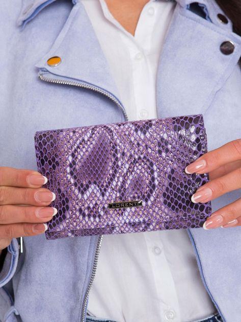 Fioletowy portfel damski we wzory                              zdj.                              1