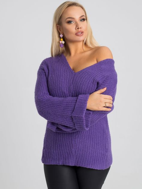 Fioletowy sweter plus size Carla