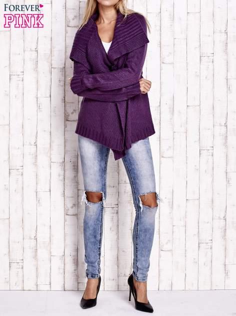 Fioletowy sweter z wiązaniem                                  zdj.                                  2