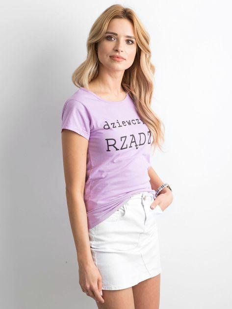 Fioletowy t-shirt damski z napisem                              zdj.                              3