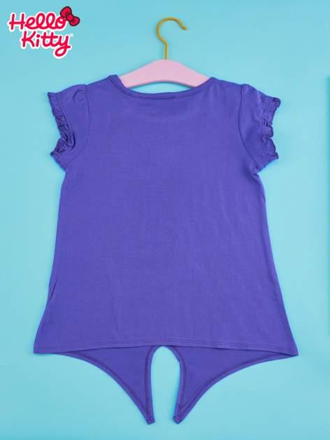 Fioletowy t-shirt dla dziewczynki HELLO KITTY z wiązaniem na dole                                  zdj.                                  2