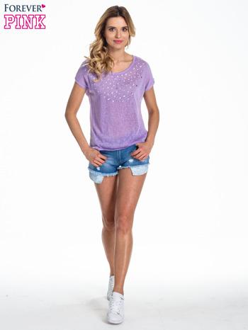 Fioletowy t-shirt z kryształkami                                  zdj.                                  2