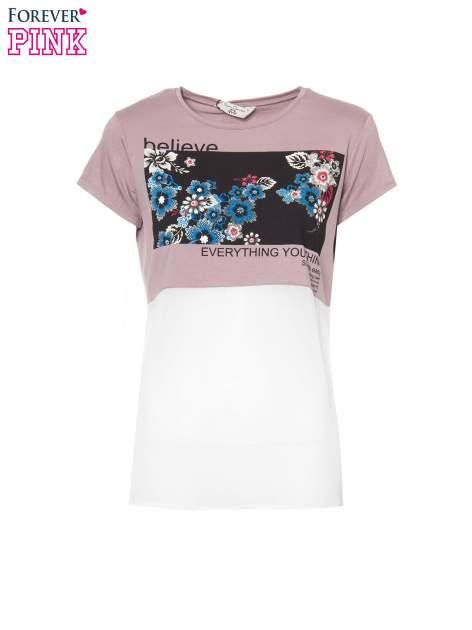 Fioletowy t-shirt z siateczkowym białym dołem                                  zdj.                                  2