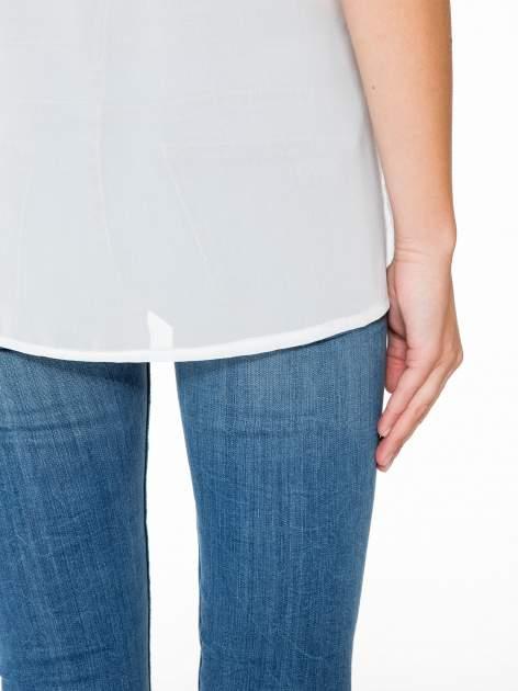 Fioletowy t-shirt z siateczkowym białym dołem                                  zdj.                                  10