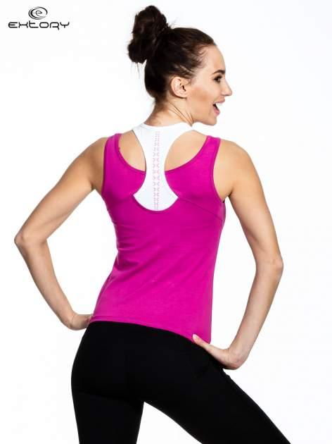 Fioletowy top sportowy z podwójnymi ramiączkami                                  zdj.                                  3
