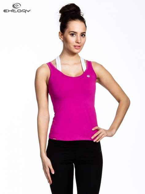 Fioletowy top sportowy z podwójnymi ramiączkami