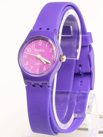Fioletowy zegarek damski na silikonowym pasku