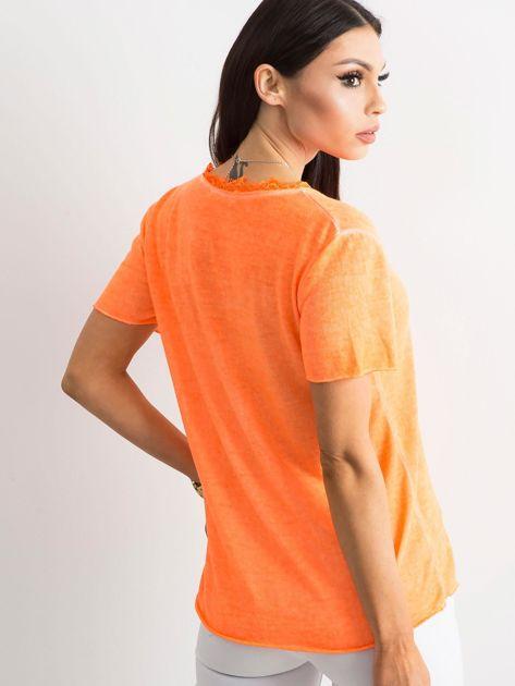 Fluo pomarańczowa bluzka z krótkim rękawem                              zdj.                              2