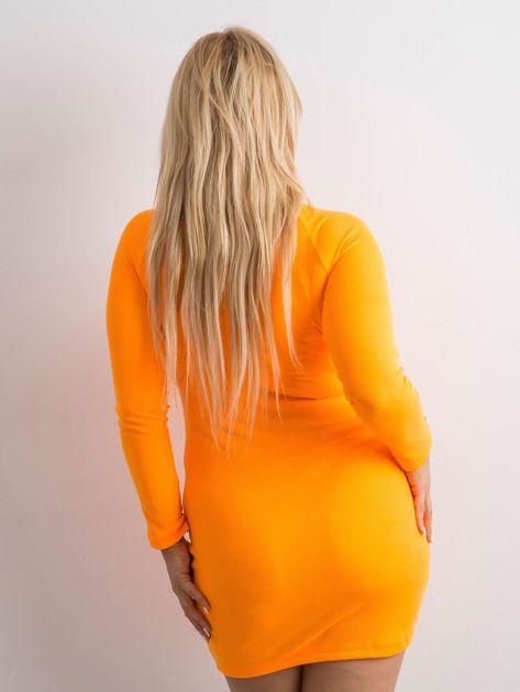 Fluo pomarańczowa prążkowana sukienka z guzikami                              zdj.                              5