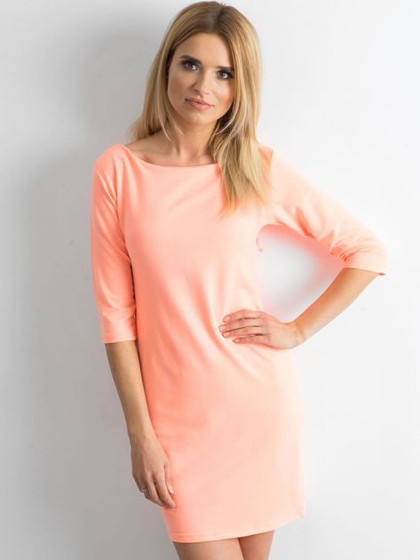Fluo pomarańczowa sukienka z bawełny                              zdj.                              1