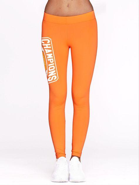 Fluo pomarańczowe legginsy na siłownię z nadrukiem CHAMPIONS                              zdj.                              2