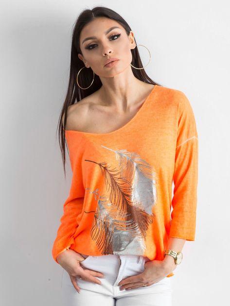 Fluo pomarańczowy cienki sweter z nadrukiem                              zdj.                              1