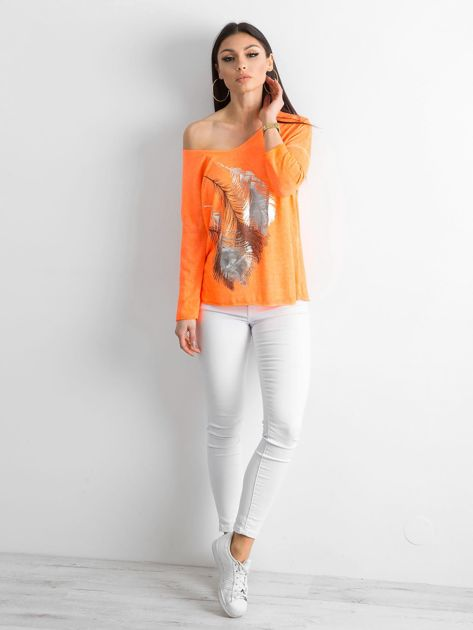 Fluo pomarańczowy cienki sweter z nadrukiem                              zdj.                              4