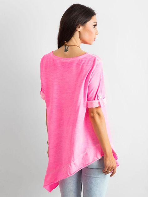 Fluo różowa asymetryczna tunika                              zdj.                              2