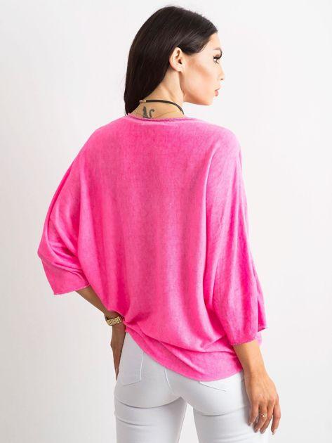 Fluo różowa damska bluzka oversize                              zdj.                              2
