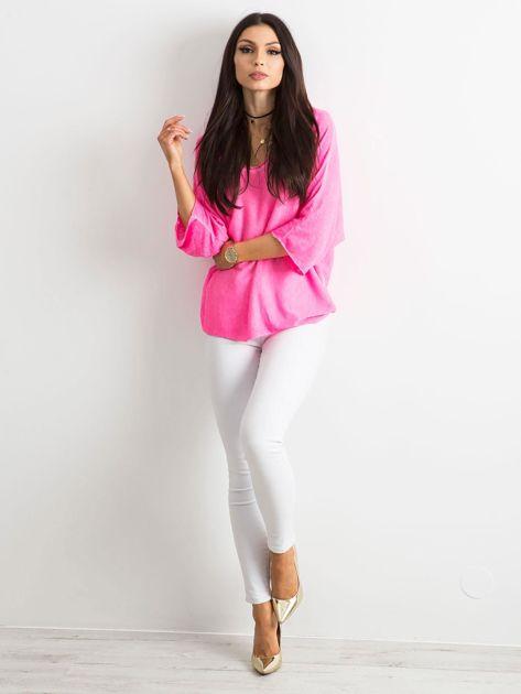 Fluo różowa damska bluzka oversize                              zdj.                              4