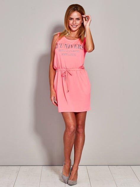 Fluo różowa sukienka z troczkami                                  zdj.                                  4