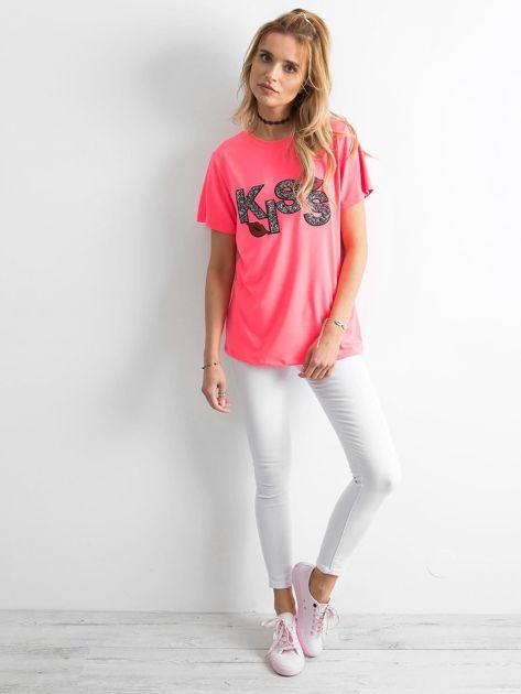 Fluo różowy t-shirt z aplikacją                              zdj.                              4