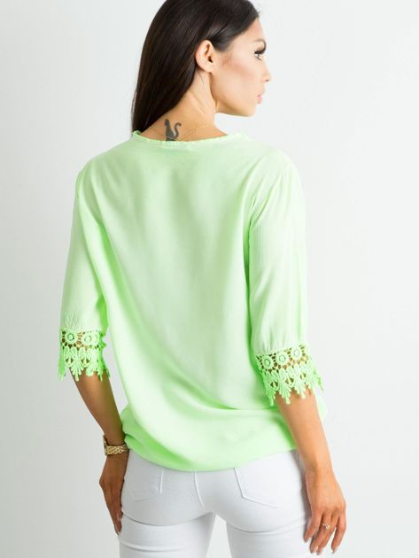 Fluo zielona bluzka z koronką                              zdj.                              2