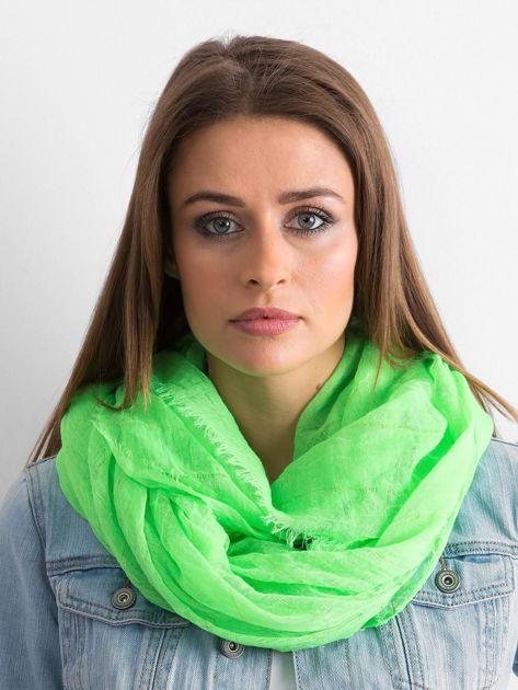 Fluo zielona chusta z metaliczną nicią
