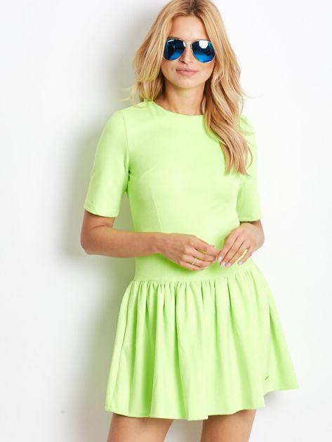 Fluo zielona zamszowa sukienka                              zdj.                              3