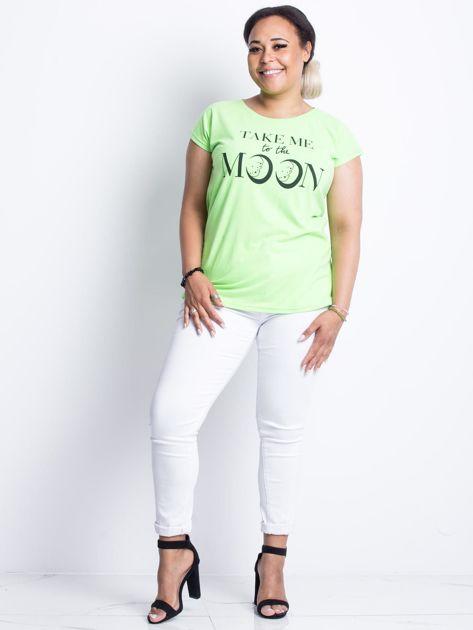 Fluo zielony t-shirt plus size Moonraker                              zdj.                              4