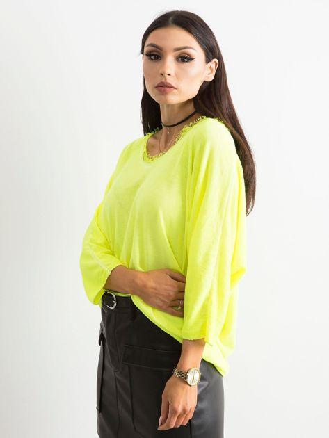 Fluo żółta bluzka z koronką przy dekolcie                              zdj.                              3