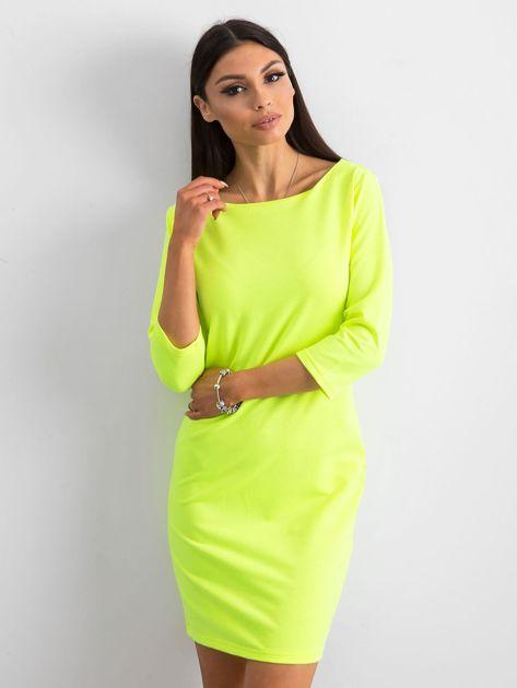Fluo żółta sukienka z bawełny                              zdj.                              1