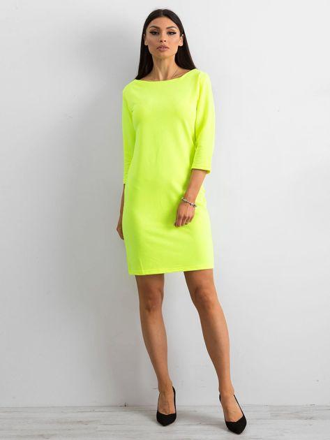 Fluo żółta sukienka z bawełny                              zdj.                              4