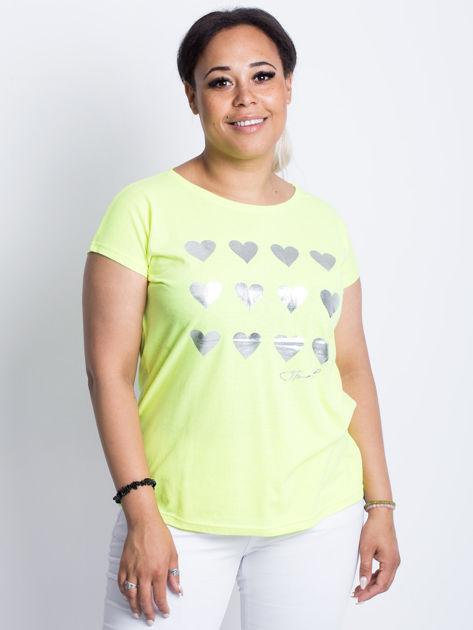 Fluo żółty t-shirt plus size Hearties                              zdj.                              1