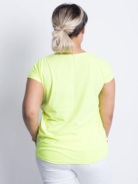 Fluo żółty t-shirt plus size Hearties                              zdj.                              2