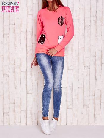 Fluoróżowa bluza z kocimi motywami                                  zdj.                                  2