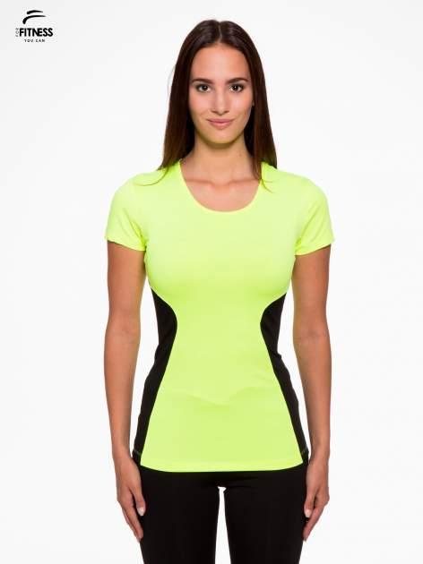 Fluozielony termoaktywny t-shirt sportowy z siateczkowymi modułami ♦ Performance RUN                                  zdj.                                  1