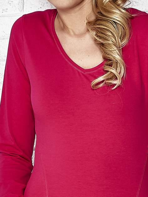 Fuksjowa bluzka sportowa z dekoltem V                                  zdj.                                  5