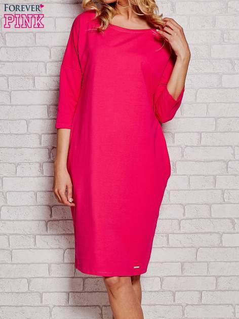 Fuksjowa prosta sukienka dresowa                                  zdj.                                  1