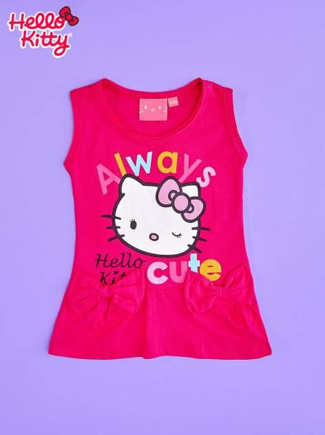 Fuksjowa sukienka dla dziewczynki z kokardkami HELLO KITTY                                  zdj.                                  1