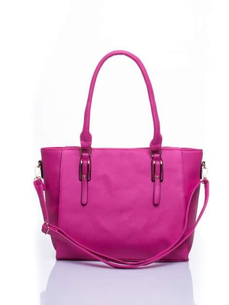 Fuksjowa torba shopper bag z odpinanym paskiem