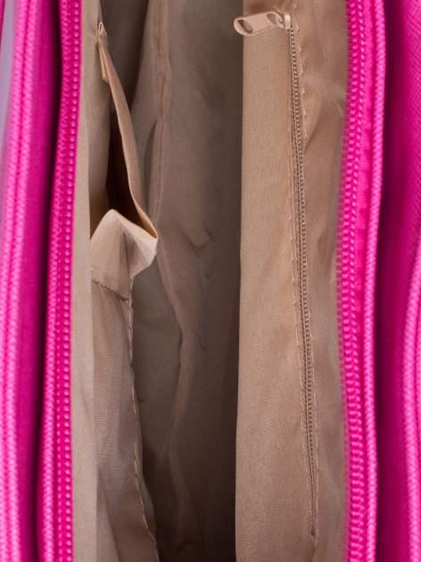 Fuksjowa torba shopper bag z odpinanym paskiem                                  zdj.                                  4