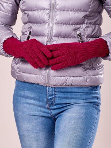 Fuksjowe rękawiczki z długim ściągaczem                                  zdj.                                  2