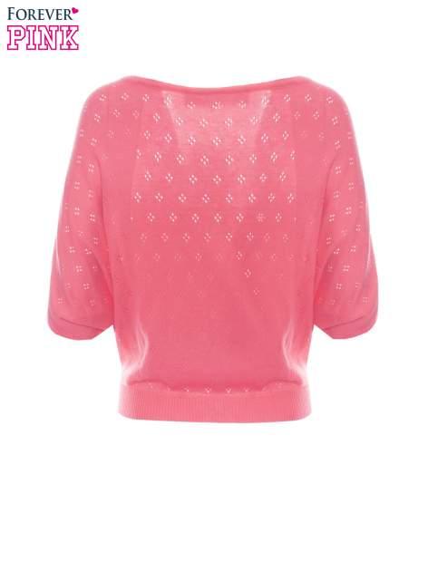 Fuksjowy ażurowy sweterek z krótkim rękawem                                  zdj.                                  6