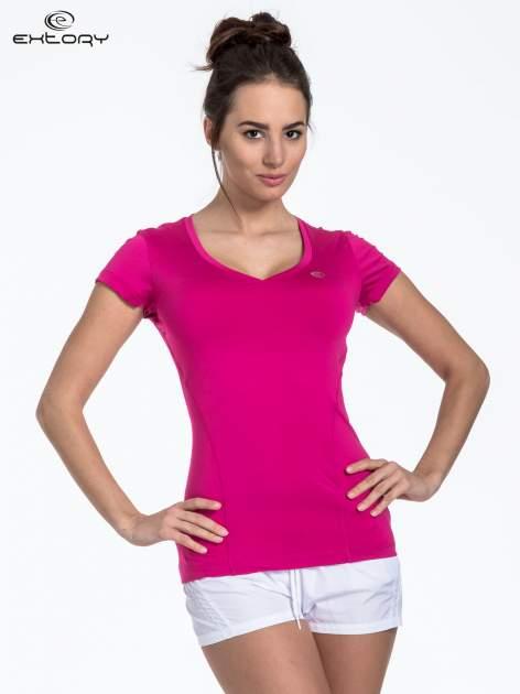 Fuksjowy modelujący t-shirt sportowy z przeszyciami                                  zdj.                                  1