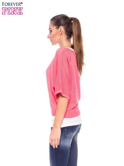 Fuksjowy siateczkowy sweter oversize                                  zdj.                                  3