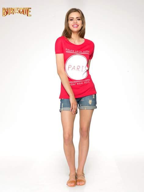 Fuksjowy t-shirt z nadrukiem PARIS                                  zdj.                                  2