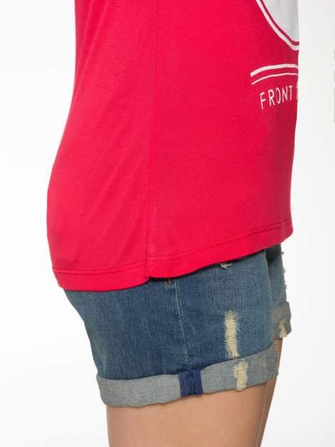 Fuksjowy t-shirt z nadrukiem PARIS                                  zdj.                                  8