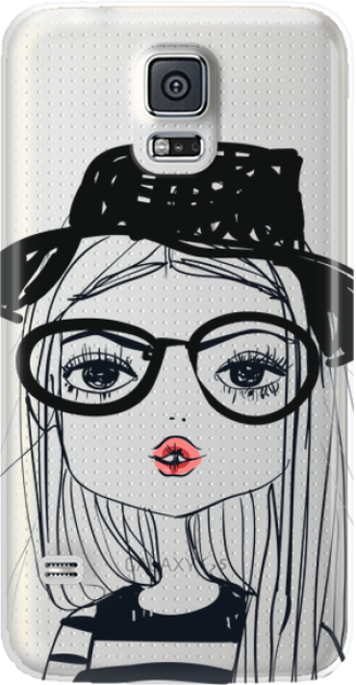 Funny Case ETUI SAMSUNG S5 GIRL WITH PINK LIPS