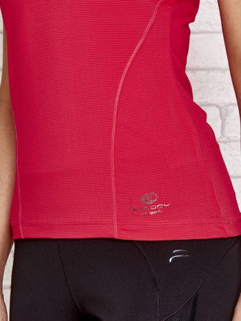 Fusjowy t-shirt sportowy w poziomy prążek                                  zdj.                                  5
