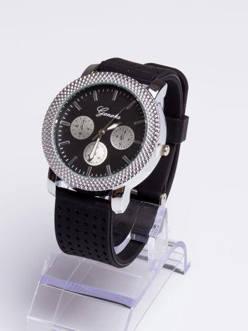 GENEVA Czarno-srebrny zegarek damski na miękkim żelowym pasku                                  zdj.                                  2