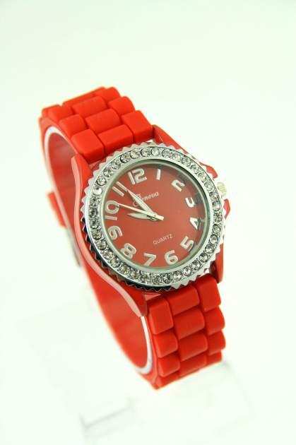 GENEVA Czerwony zegarek damski na silikonowym pasku