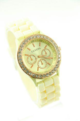 GENEVA Ecru zegarek damski z cyrkoniami na silikonowym pasku