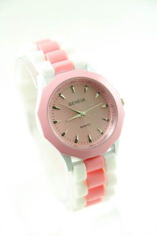 GENEVA Jasnoróżowo-biały zegarek damski na silikonowym pasku